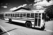 Tenn Prints - yellow american bluebird school bus in Lynchburg tennessee usa Print by Joe Fox