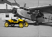Ford Tri-motor Framed Prints - yellow and Black and White Framed Print by Michael Flood