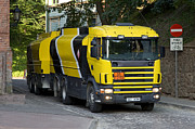 Diesel Gasoline Posters - Yellow And Black Fuel Truck Poster by Jaak Nilson