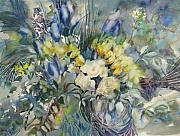 Floral Bouquet Framed Prints - Yellow and Blue Bouquet Framed Print by June Conte  Pryor