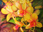 Puerto Rico Paintings - Yellow and Fuchsia Orchids by Estela Robles