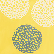 Yellow Mixed Media Prints - Yellow and Gray Garden Bloom Print by Linda Woods