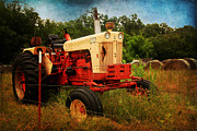 Bales Posters - Yellow and Orange Tractor Poster by Toni Hopper