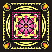 Meditating Digital Art Posters - Yellow and pink mandala Poster by Steeve Dubois