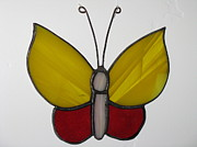 Insect Glass Art - Yellow and Red Butterfly suncatcher by Shelly Reid