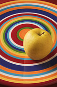 Plate Plates Prints - Yellow Apple  Print by Garry Gay