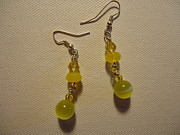 Glitter Earrings Jewelry Metal Prints - Yellow Ball Drop Earrings Metal Print by Jenna Green