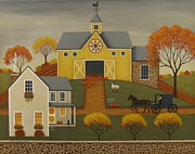 Amish Buggy Paintings - Yellow Barn by Mary Charles