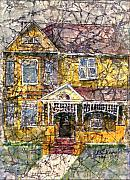 Homes Mixed Media Posters - Yellow Batik House Poster by Arline Wagner