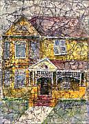 Yellow Batik House Print by Arline Wagner
