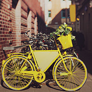 Square Tapestries Textiles - Yellow Bike by Julia Davila-Lampe
