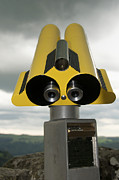 Telescopes Posters - Yellow binoculars Poster by Bernard Jaubert