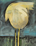 Yellow Beak Painting Posters - Yellow Bird In Field Poster by Tim Nyberg
