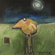Yellow Beak Paintings - Yellow Bird In Moonlight by Tim Nyberg