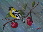 Red Finch Originals - Yellow bird by Linda Larson
