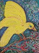 Canary Mixed Media Originals - Yellow Bird Returns by Anne-Elizabeth Whiteway