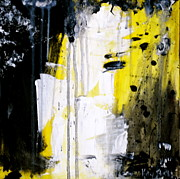Drips Paintings - Yellow-Black by Kelly S