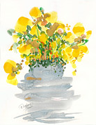 Flood Drawings Prints - Yellow Blossoms Print by Darlene Flood