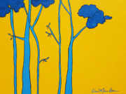 Cartoonish Framed Prints - Yellow Blue Tree Framed Print by Anne Marie Brown