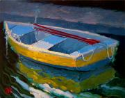 Robert Lewis Prints - Yellow Boat and Red Oars Print by Robert Lewis