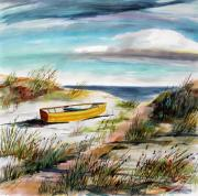Cloud Drawings Originals - Yellow Boat B by John  Williams