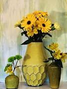 Large Poster Prints - Yellow Bouquets Print by Marsha Heiken