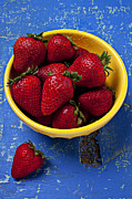Blue Table Framed Prints - Yellow bowl of strawberries Framed Print by Garry Gay