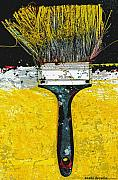 Anahi Decanio Mixed Media Posters - Yellow Brush Art Print Poster by Anahi DeCanio