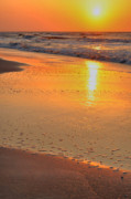 Beach Scenes Photo Prints - Yellow Bubbles Print by Emily Stauring