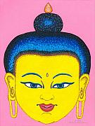 Illustrative Prints - Yellow Buddha Print by Michelle  Darensbourg