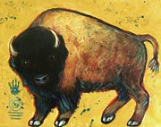 Buffalo Painting Prints - Yellow Buffalo Print by Carol Suzanne Niebuhr