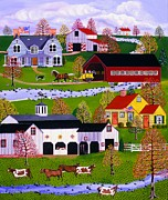 Covered Bridge Paintings - Yellow Buggy Ride by Susan Henke
