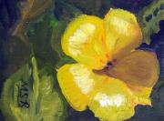 Canary Yellow Painting Prints - Yellow Buttercup  Print by Maria Soto Robbins
