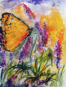 Watercolor And Ink Paintings - Yellow Butterfly on Lupines by Ginette Fine Art LLC Ginette Callaway