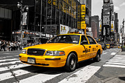 Buidlings Framed Prints - Yellow Cab at the  Times Square Framed Print by Hannes Cmarits