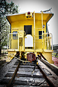 Old Caboose Posters - Yellow Caboose Poster by Charrie Shockey