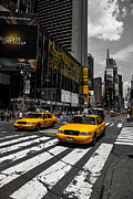 Colorkey Posters - Yellow Cabs cruisin on the Times Square  Poster by Hannes Cmarits
