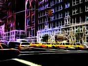 Neon Light Posters - Yellow Cabs in New York Poster by Stefan Kuhn