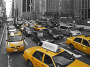 Newyork Digital Art Metal Prints - Yellow Cabs NY Metal Print by Melanie Viola