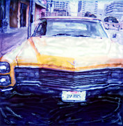 6th Street Posters - Yellow Cadillac Poster by Pauline Jacobson