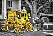 Old England Prints - Yellow Carriage Print by Evelina Kremsdorf