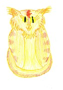 Yellow Stripes Drawings Posters - Yellow Cat Poster by Jeannie Atwater Jordan Allen