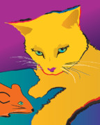 Pets Art Digital Art - Yellow Cat by Robyn Saunders