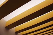 Yellow Line Photo Framed Prints - Yellow Ceiling Beams Framed Print by Jeremy Woodhouse