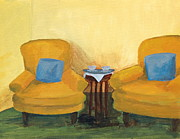 Interior Still Life Paintings - Yellow Chairs by Marianne Beukema