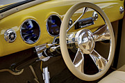 Motor Vehicles Framed Prints - Yellow Chevy dashboard. Miami Framed Print by Juan Carlos Ferro Duque
