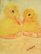 Fluffy Chicks Posters - Yellow Chicks Poster by Paula Maybery