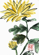 Buddhist Paintings - Yellow Chrysanthemum by Ellen Miffitt