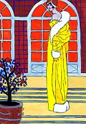 Potted Drawings Metal Prints - Yellow Coat Metal Print by Mel Thompson