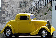 Collectible Mixed Media Prints - Yellow Coupe Hardtop Print by Jerry L Barrett